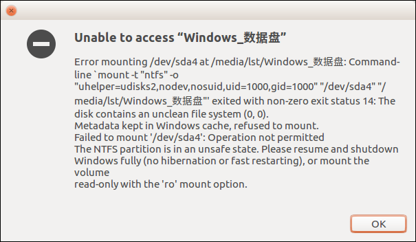 ubuntu16.04 mount win10 ntfs 失败