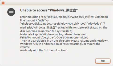 ubuntu mount ntfs failed